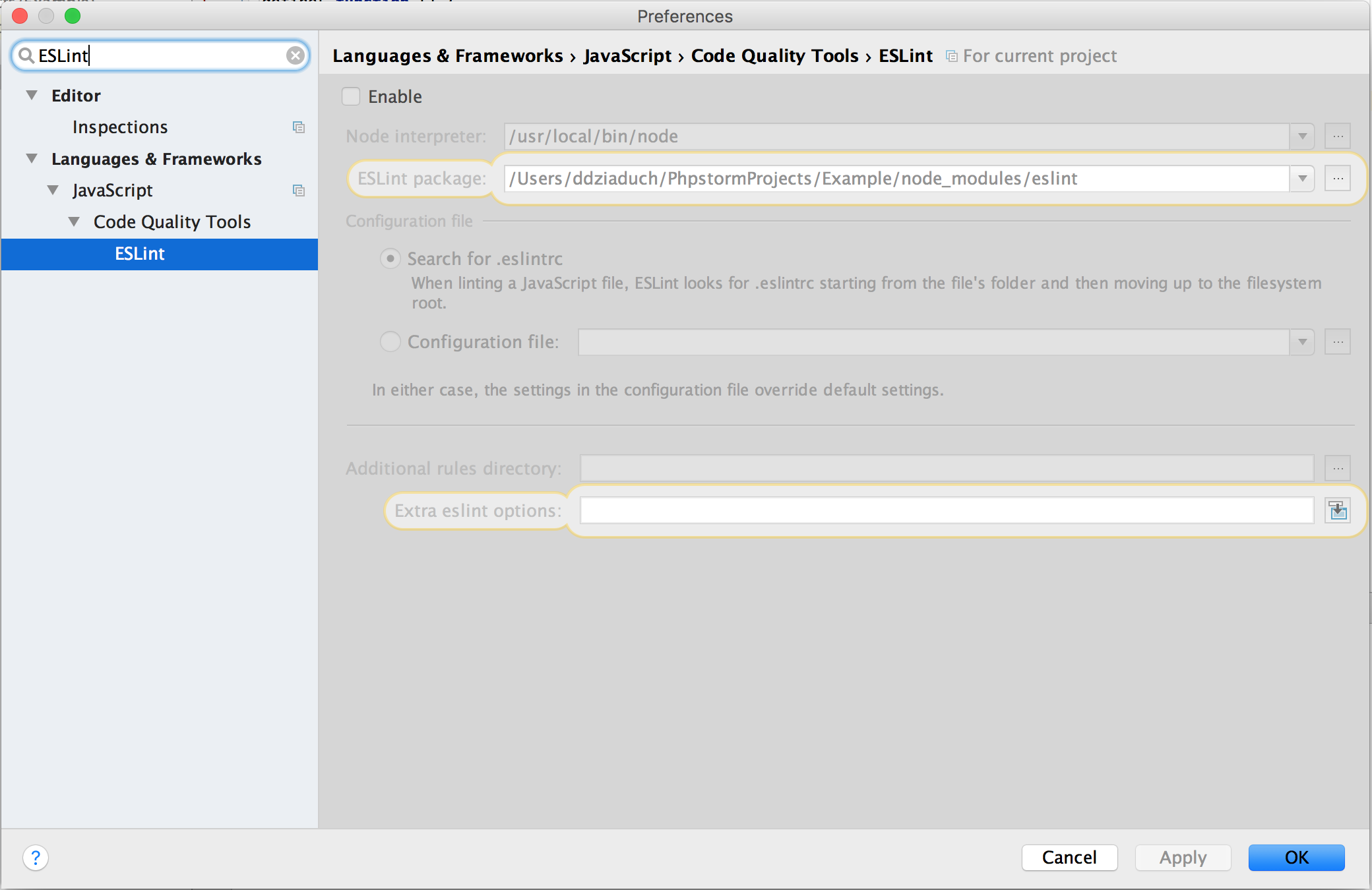 ESLint – install and config – PhpStorm/WebStorm and git pre