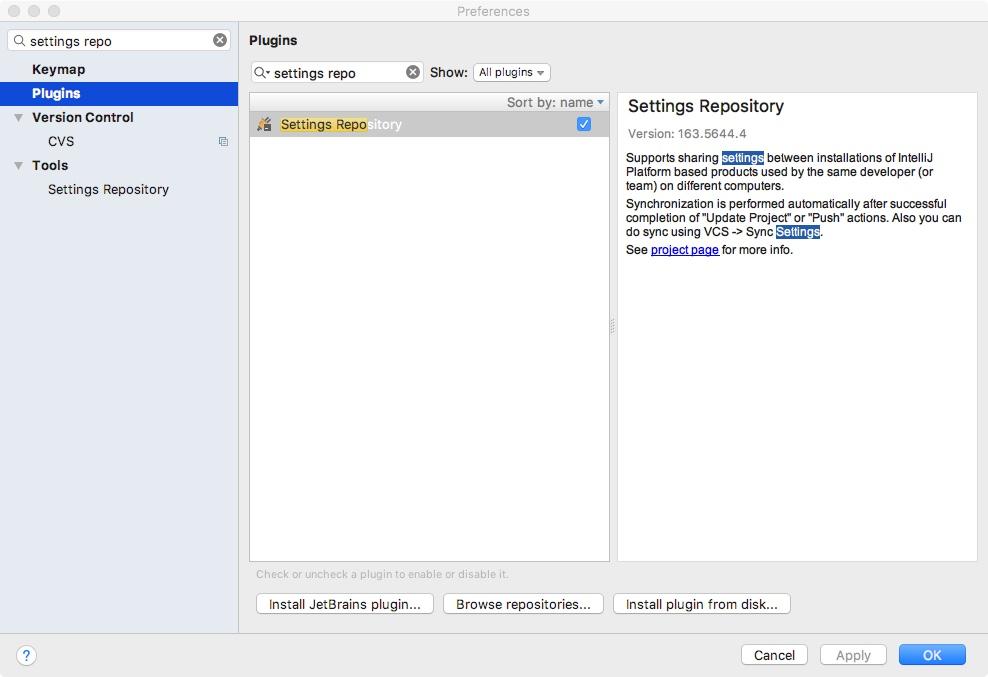 Plug-in Settings Repository w ustawieniach